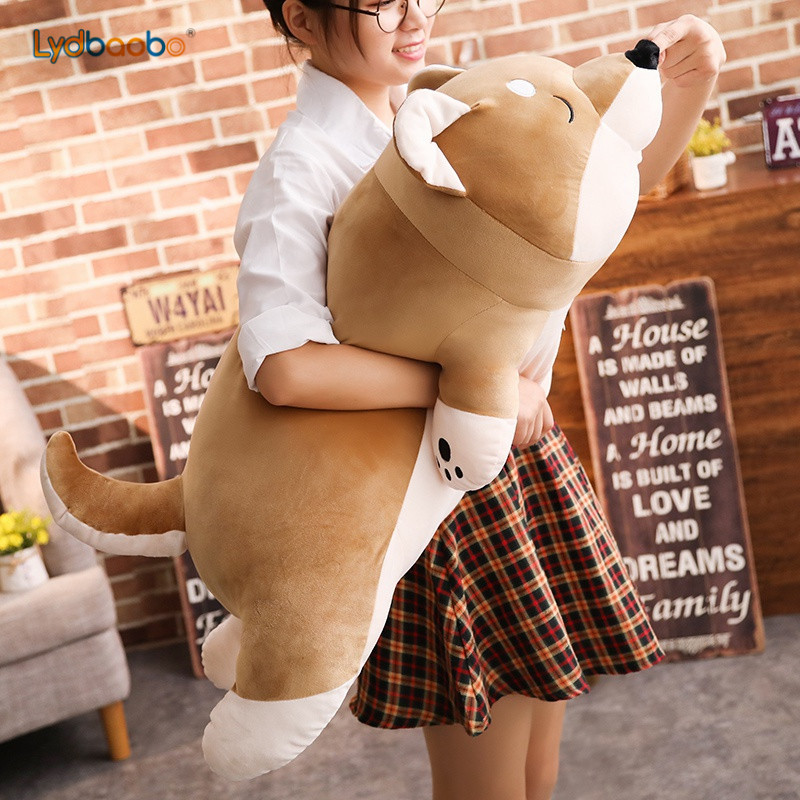 1pc Cartoon Lying Plush Stuffed Dog Big Toys Shiba Inu Dog Doll Lovely Animal Children Birthday Gift Corgi Plush Pillow 40-100cm