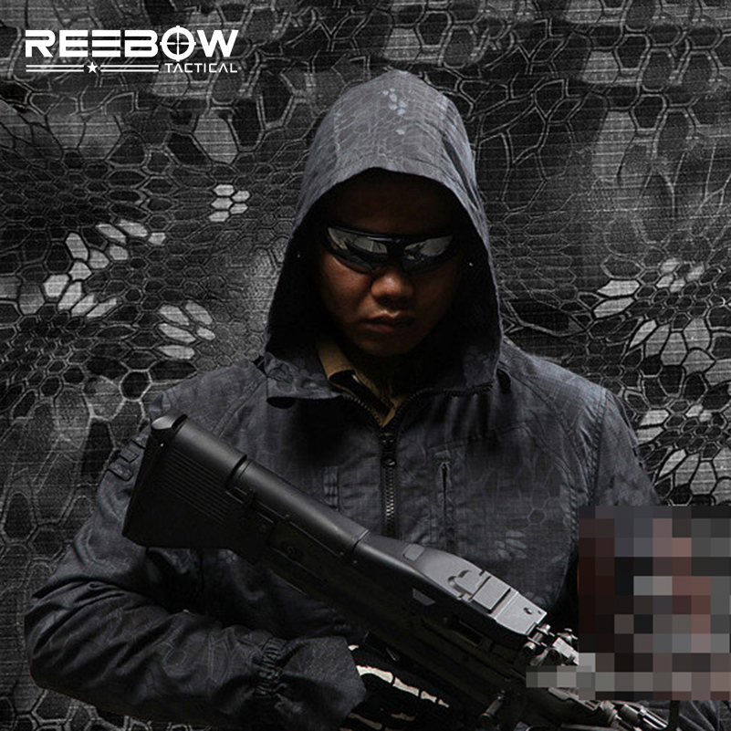REEBOW TACTICAL Python Grain Outdoor Camouflage Hunting Jacket Men Sport Scratch-resistant Paintball Autumn Winter Shooting Coat