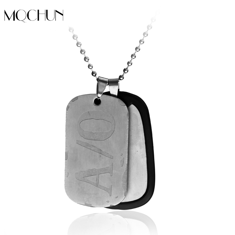 MQCHUN Hot Sale <font><b>Gangsta</b></font> A/0 Dog Tag Nicolas Brown Mercenary Necklace Pendant <font><b>Gangsta</b></font> Cosplay Titanium Steel Chain Necklace image