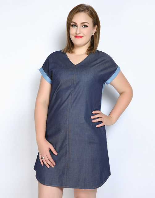 Cute Ann Womens Sexy V Neck Plus Size Denim Dress Short Sleeve Blue