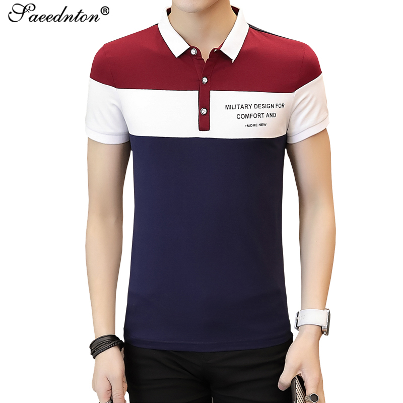 Men   Polo   Brand High Quality Business Casual 95% Cotton   Polo   Shirt 2019 Summer Men's Striped Patchwork Male Breathable Tops Tees