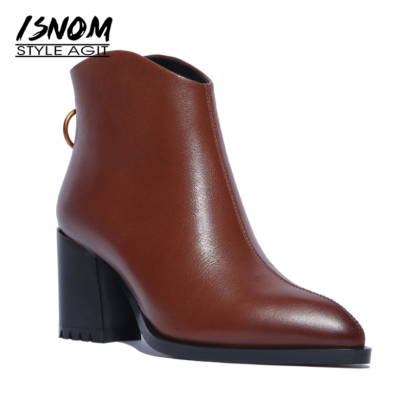 ISNOM Genuine Leather Women Ankle Boots High Heels Boot Pointed Toe Party Ladies Shoes Spring Rubber