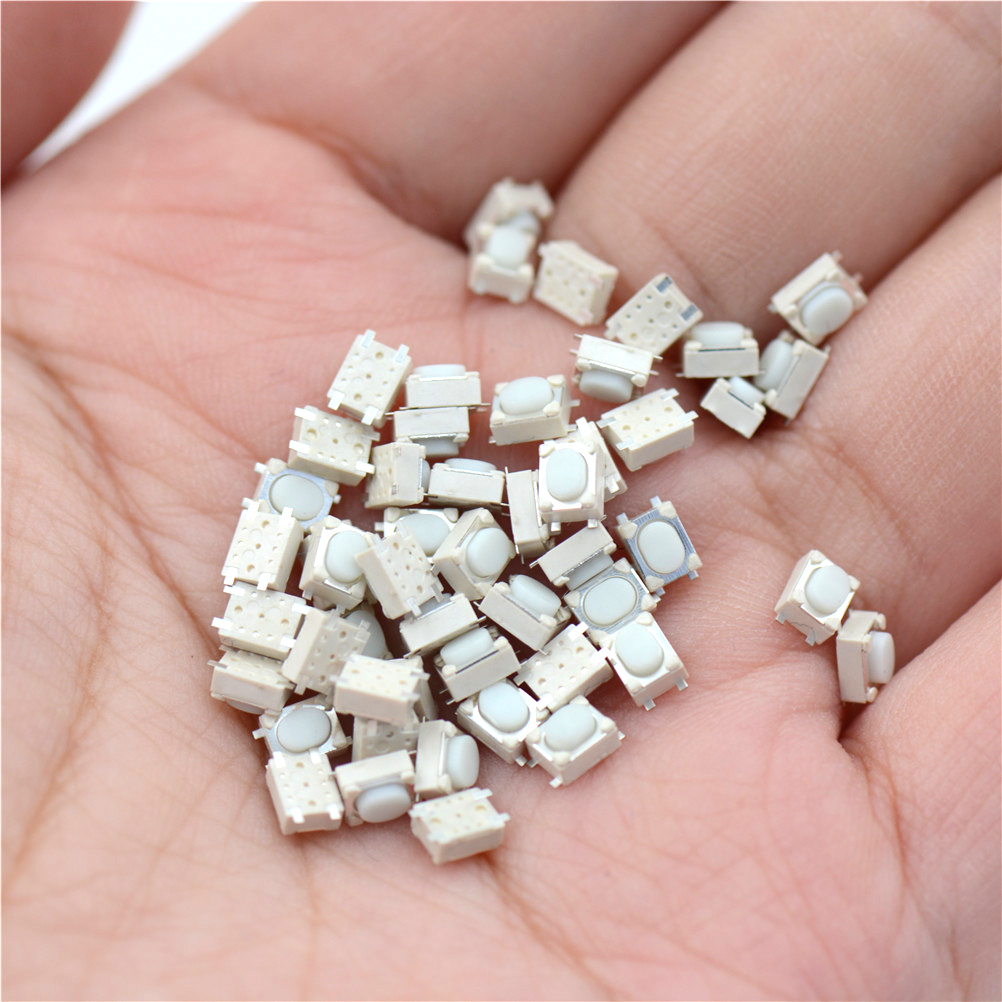 50pcs/lot Micro Button Tact Switch SMD 4Pin 3X4X2.5MM White Tactile Tact Push Button Micro Switch Momentary