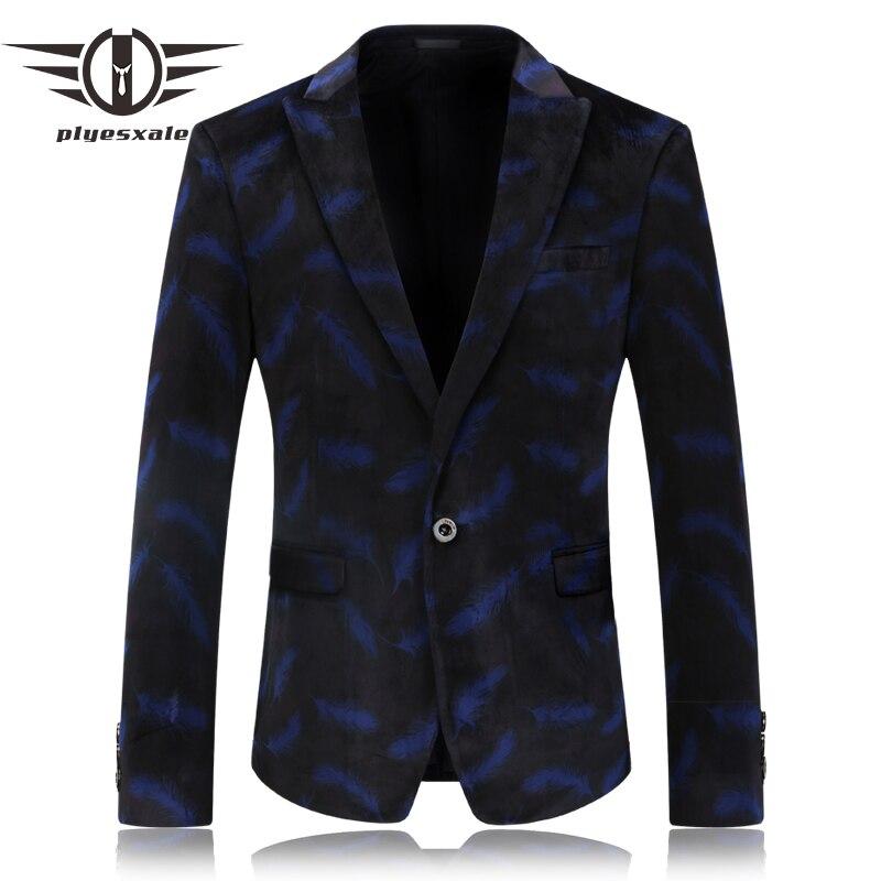 Plyesxale Blue Velvet Blazer Männer 2018 Mode Featehr Muster Casual Anzug Jacke Prom Blazer Masculino Slim Fit Bühne Tragen Q59 Mild And Mellow Mutter & Kinder