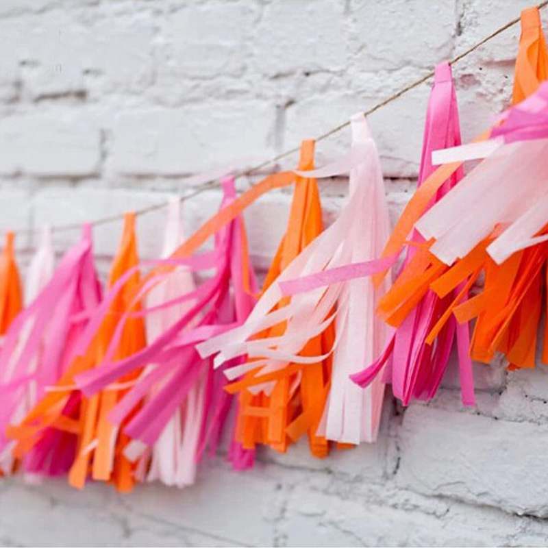 5pcs/bag Paper Tissue Paper Tassels Garland Pom Poms for Wedding Birthday Diy Party Decoration Baby Room Wall Decor Accessories