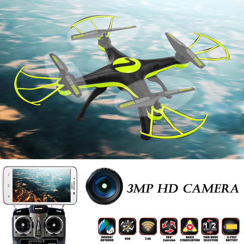 3MP Headless RC Helicopter Mode 2.4G 4CH 6 Axle Quadcopter Remote Control Toys drone with camera hd professional multicopter