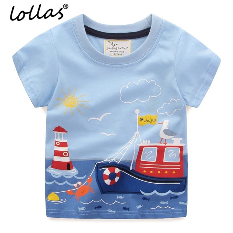 Ls Summer 2018 Boys Tops Children T shirts Boy Clothes Kids Tee Shirt Fille 100% Cotton Character Print Baby Boy Clothing