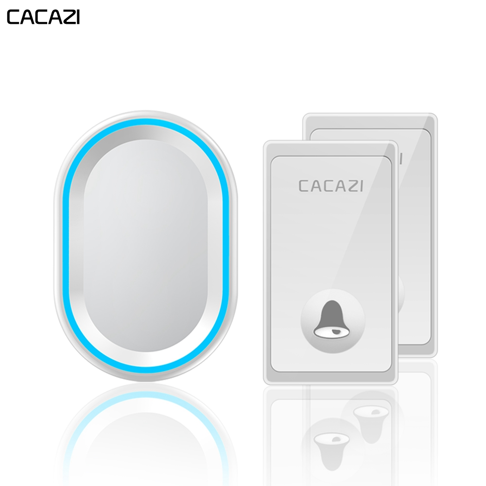 CACAZI Self-powered Wireless Doorbell 58 Chimes US EU UK Plug Waterproof 2 Buttons 1 Receiver No Battery Required Home Call bell