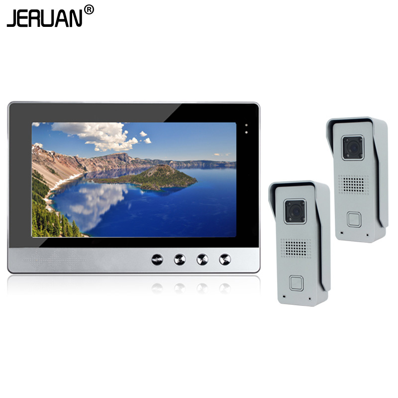 JERUAN In Stock New Wired 10 Color TFT  Video Intercom Door Phone System + Two 700TVL Outdoor Camera + 1 Monitor Free Shipping