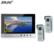 JERUAN In Stock New Wired 10″ Color TFT  Video Intercom Door Phone System + Two 700TVL Outdoor Camera + 1 Monitor Free Shipping