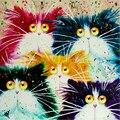 Pintura al óleo de diy by números decorativos pared de la lona pintura pincel de caligrafía pintura de acrílico cabina de nieve para colorear gatos animal y068