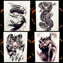 Black Boa Totem Snake Waterproof Temporary Tattoo Stickers For Men Large Body Arm Tattoo Sleeve Legs Python Flash Tatoo Women
