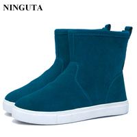 2014 Fahshion Genuine Leather Winter Women Ankle Boots Shoes Candy Colors 35 43