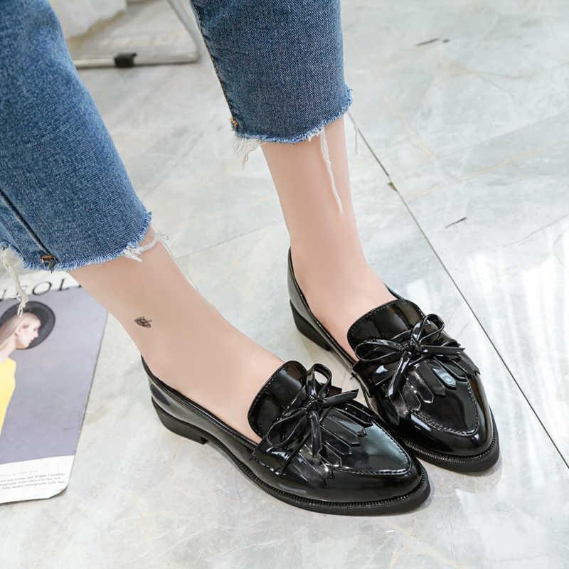 2019 Marka Ayakkabı Kadın Rahat Püskül Yay Sivri Burun Siyah Oxford Ayakkabı Kadınlar Flats Rahat Kadın Ayakkabı üzerinde Kayma q7619