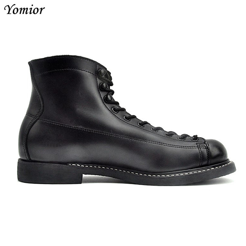 Spring Men's Boots British Style Fashion Ankle Boots Genuine Leather Casual Motorcycle Black Comfortable Vintage Travel Boots