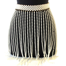 Hot Luxury Handmade Pearl Waist Belts Women big Pearl Beaded Tassel Fringe Skirt Summer Female Elastic Waistband Body chain цена 2017