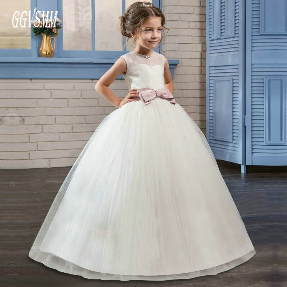 Fashion Ivory   Flower     Girl     Dress   2019 women child wedding Party Gown Long Scoop Tulle Lace Zipper Cheap First Communion   Dresses