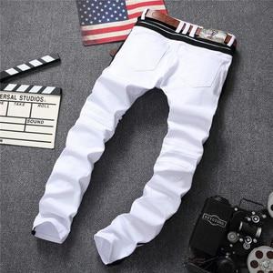 Image 4 - 白人男性のジーンズストレート新ブランドリッピング穴デニムジーンズジッパーサイドブラックストライプ、男性のパンツスリムプラスサイズのズボン