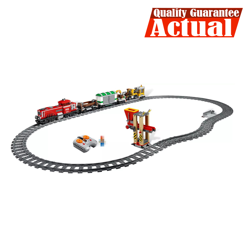 LEPIN 02039 Red Cargo Train City Remote Control RC Building Blocks Bricks Toys DIY For Boys oyuncak Compatible with 3677 lepin 02009 city engineering remote control rc train model