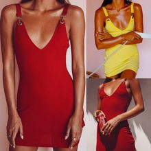 Women Bandage Dress 2019 Sexy Deep V-Neck Bodycon Sleeveless Evening Club Mini Party Dresses Yellow Red