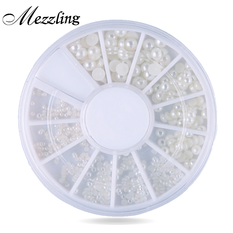 Mix 4sizes White Natural 3d Pearl Nail Art, Flatback Rhinestone Nail Beads Wheel,DIY Phone Manicure Beauty Nail Decoration Tools beauty girl 2017 wholesale excellent 48bottles 3d decal stickers nail art tip diy decoration stamping manicure nail gliter