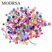 MODRSA 100PCS Navel Bar BodyJewelry Tongue Ear Studs Eyebrow Lips Stainless Steel Mix Color Belly Button Ring Belly Piercing