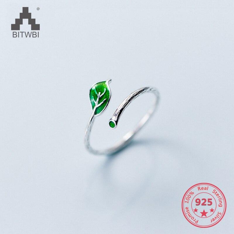 2018 Neue Stil S925 Sterling Silber Einfache Mischung Persönlichkeit Grüne Blätter Einstellbare Ringe Modeschmuck Für Frauen