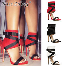 Classy European T Stage Thin High Heels Sandals Women Cross Strap Lace Up Stiletto Heel Sandal Boots Sexy Open Toe Shoes(China)