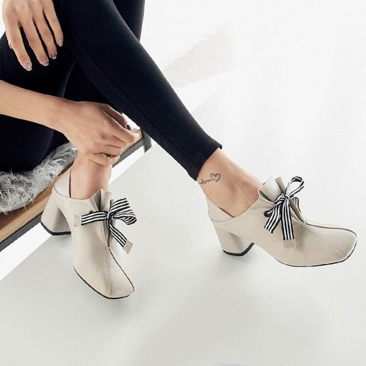 PXELENA Lederen Muilezels Pompen Vrouwen Schoenen Chunky Blok Hoge Hak Jurk Schoenen Elegante Strik Soft Comfort 2019 Plus Size-in Damespumps van Schoenen op  Groep 1