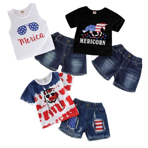 infantil crianca bebe menina do menino bandeira americana 4th of july outfits set top calcas
