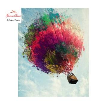 Golden Panno,Needlework,DIY DMC 14CT Cross stitch Kit, Pattern Embroidery Cross-stitch Painting,Christmas,hot air balloon 1025