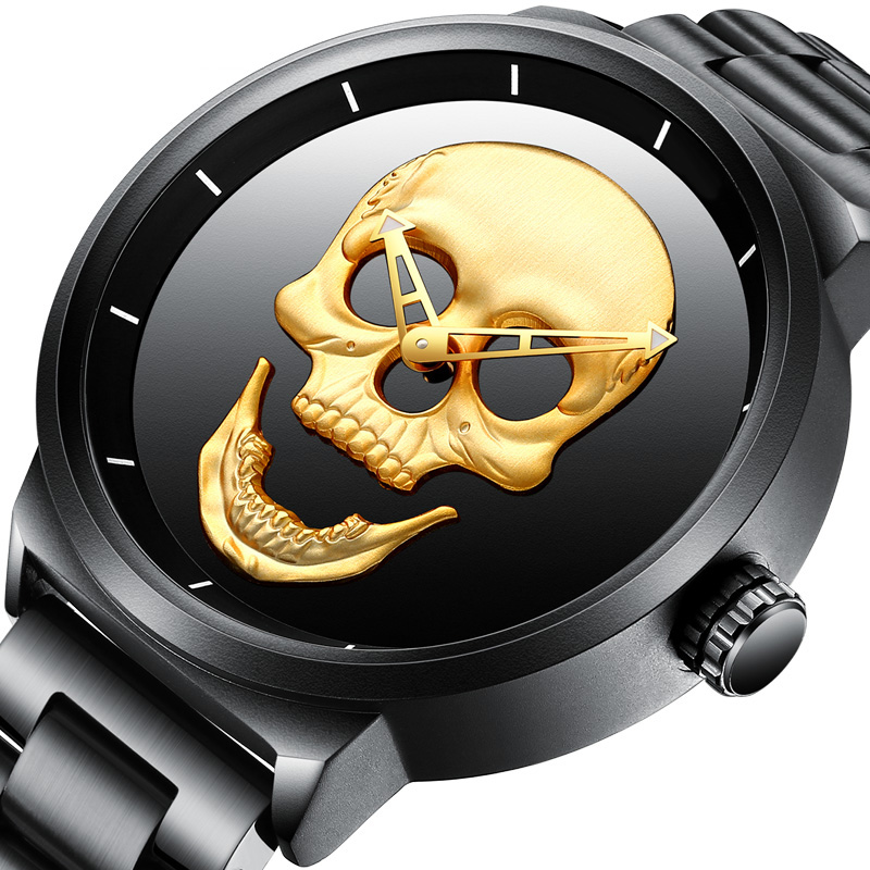 New Men Watch Top Brand Luxury Sport Mens Watches Classic Military Army Skull Face Stainless Steel Band Wrist Quartz Male Clock protective outdoor war game military skull half face shield mask black