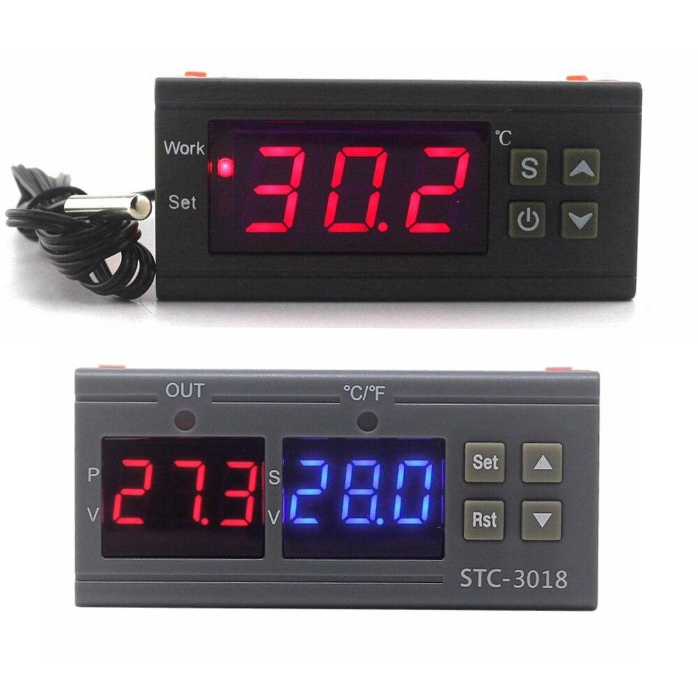 Inteligente controlador de temperatura digital termostato termômetro regulador thermo incubadora relé saída kt1210w STC-3018