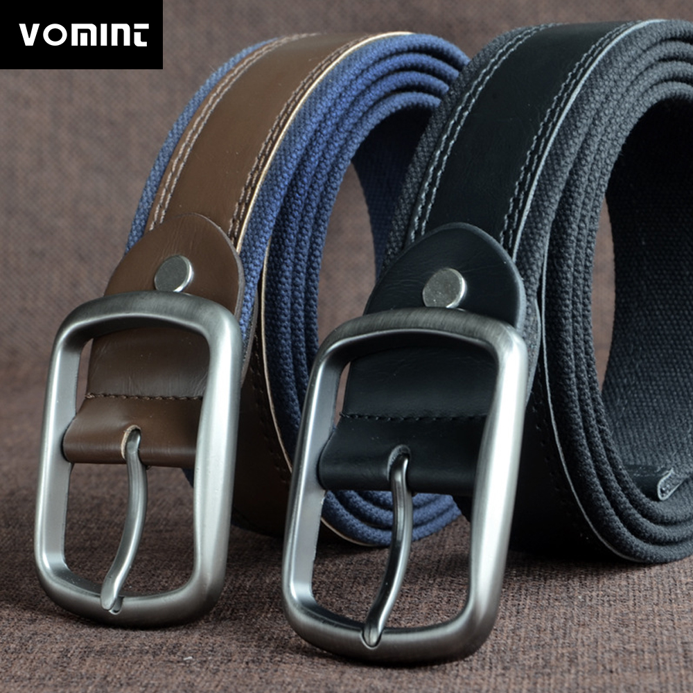 Honesty Vomint 2019 New Arrivals Mens Belts Long Canvas Snack Buckle Belt Needle Buckle Belt With Pu Leather 130cm 150cm For Male Pleasant To The Palate Men's Belts