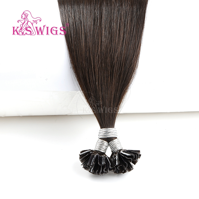 Image 2 - K.S WIGS 16 20 24 28 Straight Pre Bonded Fusion Hair Remy Keratin Capsules Nail U Tip Human Hair Extensions 25s/packNail/U Tip   -