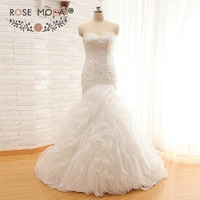 Rose Moda Trumpet Wedding Dress Crystal Lace Mermaid Wedding Dresses Real Photos