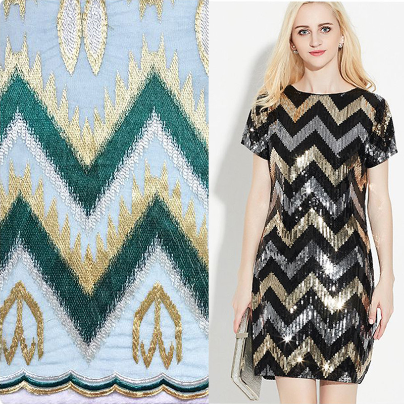 The Wave Pattern Embroidered Lace Fabric Multicolor Mesh African Lace Fabric Tecidos de Patchwork Tissus DIY Telas For Dress