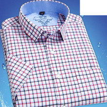 2017 Spring Summer Hot Sale Men Short Sleeve Fashion Shirts,Slim Fit Plaid Printed Pure Cotton Single Breasted Shirts Size S-2XL