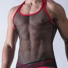 CFYH Sexy Men Tank Tops Transparent Mesh Singlet Underwear Gay Exotic Home
