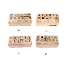 12 шт/компл 4 дизайна деревянный штамп милый мультяшный Узор