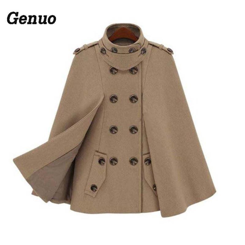 Genuo, плащ с пряжкой, пончо, Женское пальто, новая мода, Европейское шерстяное пальто, женское осеннее Свободное пальто, женская теплая верхняя одежда - Цвет: Хаки