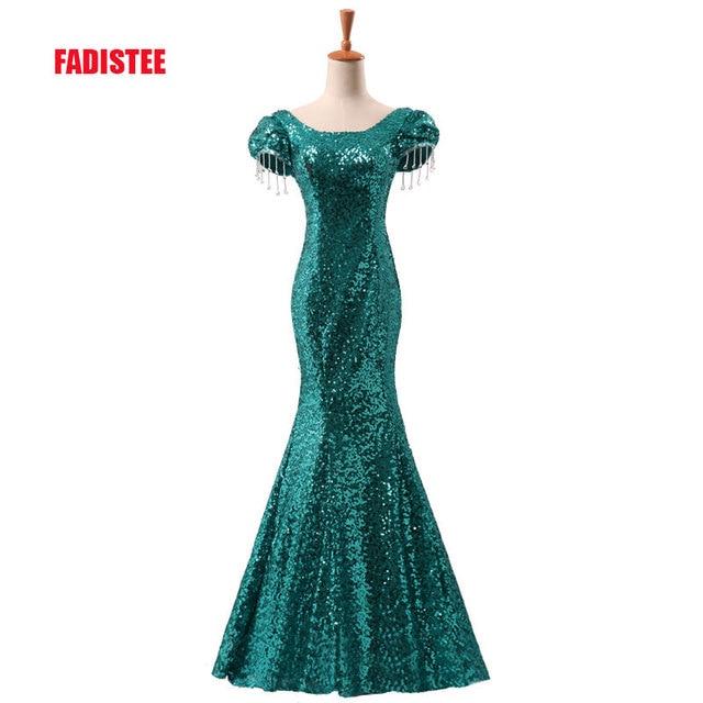 New arrival elegant party evening dresses Long dress Vestido de Festa  mermaid bling sequin lace-up short sleeve 085c76b904a0