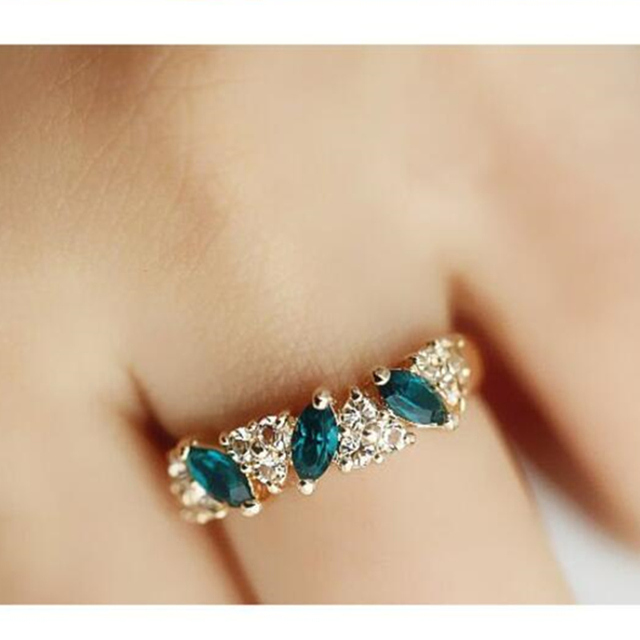 Hot Sales fashion Vintage created gemstone Crystal ring for Women Jewelry--CRYST