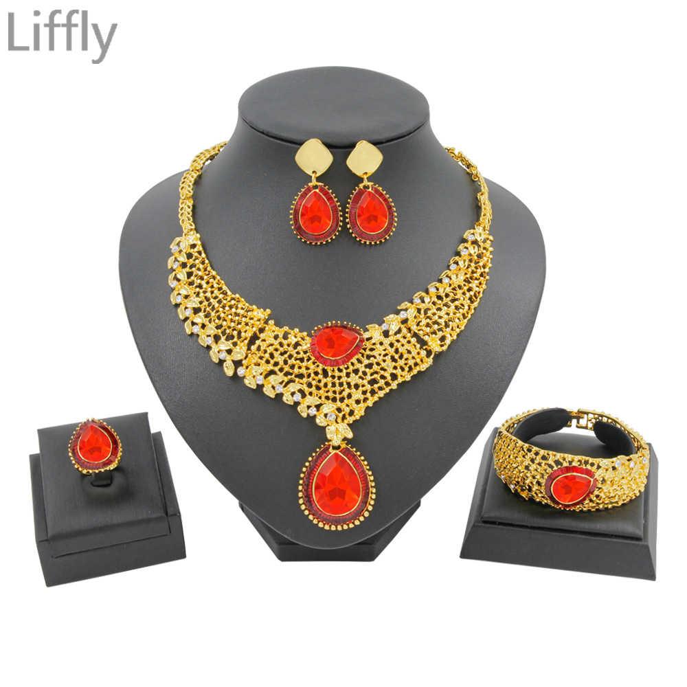 בציר קלאסי מרוקאי 24 זהב תכשיטי סטי אדום קריסטל שרשרת טבעת עגילי יום הולדת לנשף מסיבת קסם נשים תכשיטים