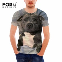 FORUDESIGNS Animal Dog Printed T Shirt Men Boston Terrier Pattern Tee for Teenager Males Casual Couple Tees Summer Tops