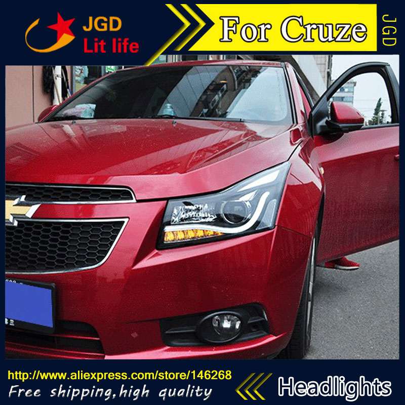 Free shipping ! Car styling LED HID Rio LED headlights Head Lamp case for Chevrolet Cruze Bi-Xenon Lens low beam