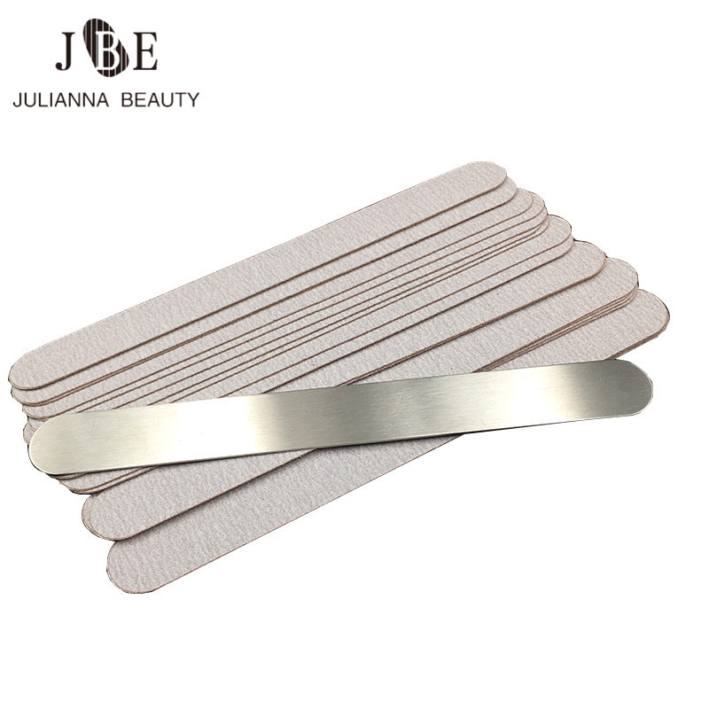 50Pcs/Set Replaceable Nail Files Grit 100#/180# Curve Double Side Stainless Steel With Spare Sanding Cloth