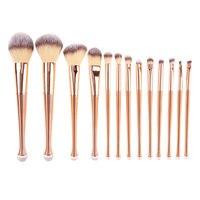 13pcs Set Mermaid Shaped Makeup Brush Set Gold Foundation Blending Powder Eyeshadow Contour Concealer Blush Brushes
