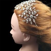 Nankiya New Crystal Soft Bridal Wedding Daisy Headband Tiara Leaf Flower Hair Jewelry Crowns Princess Prom Party Sliver NT4513