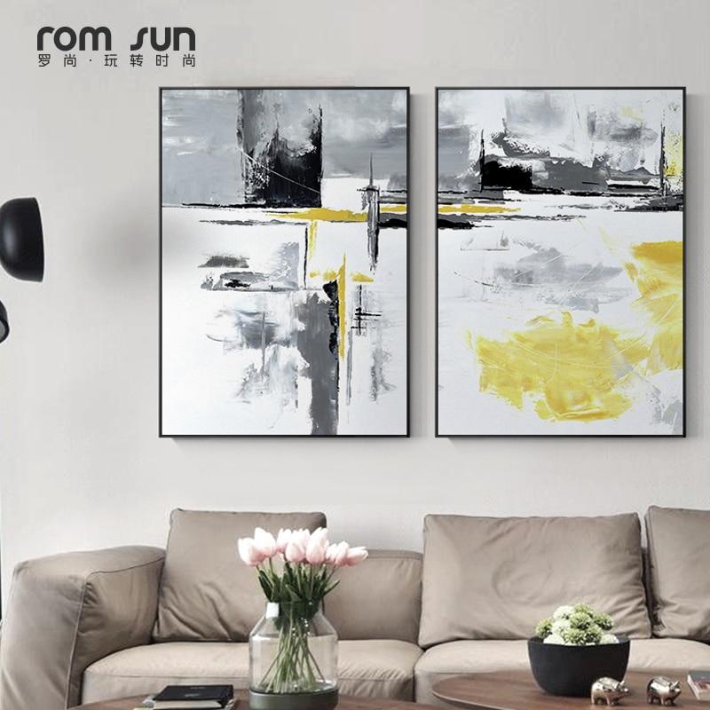 Abstrakte Gemälde 3 Stück Kunst Schwarz Gelb Leinwand Kunst Wand Bilder Poster Und Drucke Für Wohnzimmer Morden Wohnkultur Nordic
